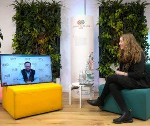 Nora Sophie Griefahn im Gespräch mit Alexander Bonde auf dem Bildschirm; Blog von Cradle to Cradle NGO