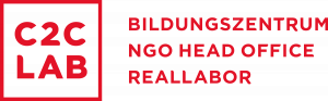 Logo C2C LAB Schriftzug Rot. Bildungszentrum, NGO Head Office, Reallabor