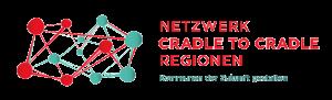 Logo Türkis Rot Netzwerk Cradle to Cradle Regionen. Kommunen der Zukunft gestalten