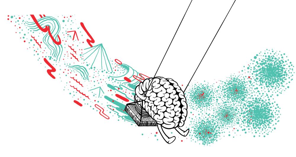 Cartoon, schaukelndes Gehirn