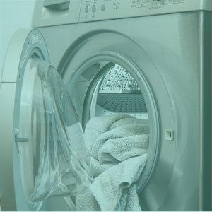 Waschmaschine geöffnet